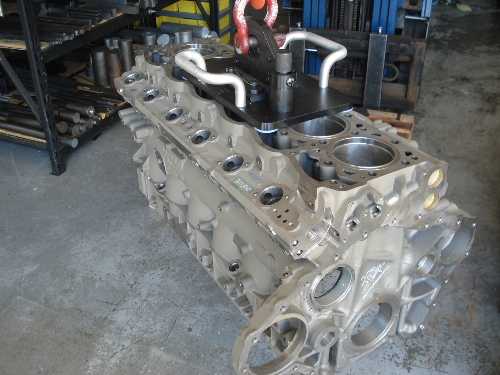 Lift assist for this 780 lbs. Engine Block